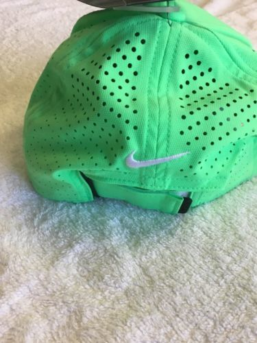 Nike AeroBill Perforated Lime Green White Adjustable Golf Hat Cap nwt 6969a7afdac