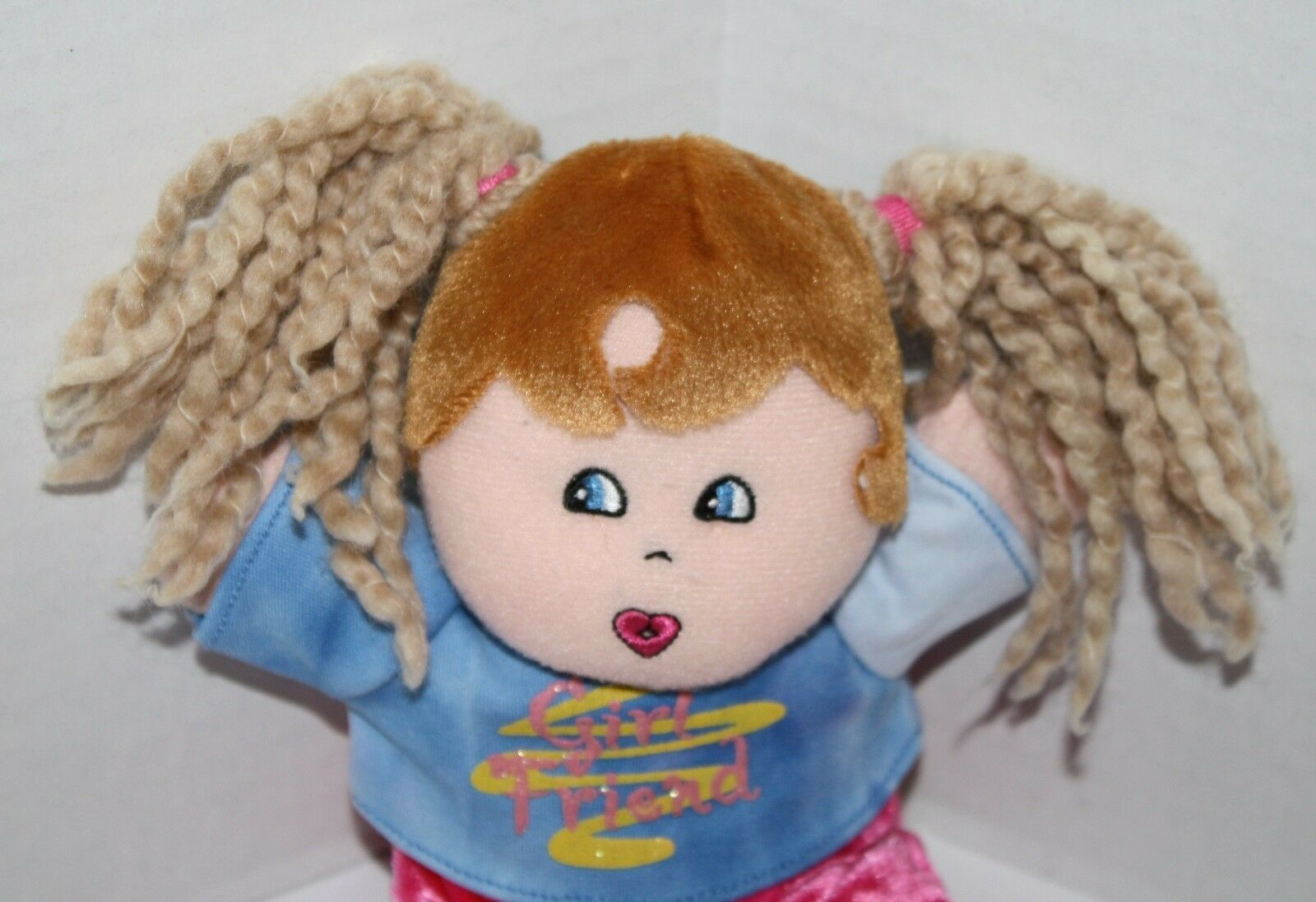 "Dan Dee Plush DOLL 9"" Girl Friend Blonde Yarn Pigtails Brown Hair Stuffed Soft image 2"