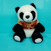 "Panda Teddy Bear Plush Red Chinese Paisley Traditional Shirt 7"" Stuffed ... - $15.83"