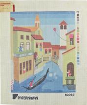 1970s Paternayan Hand Painted Needlepoint Animated Venice Burano Island  - $38.25