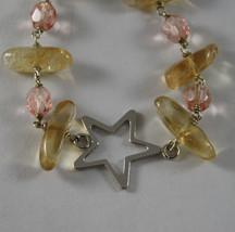 .925 RHODIUM BRACELET WITH PINK CRISTALS, YELLOW QUARTZ AND STAR image 2
