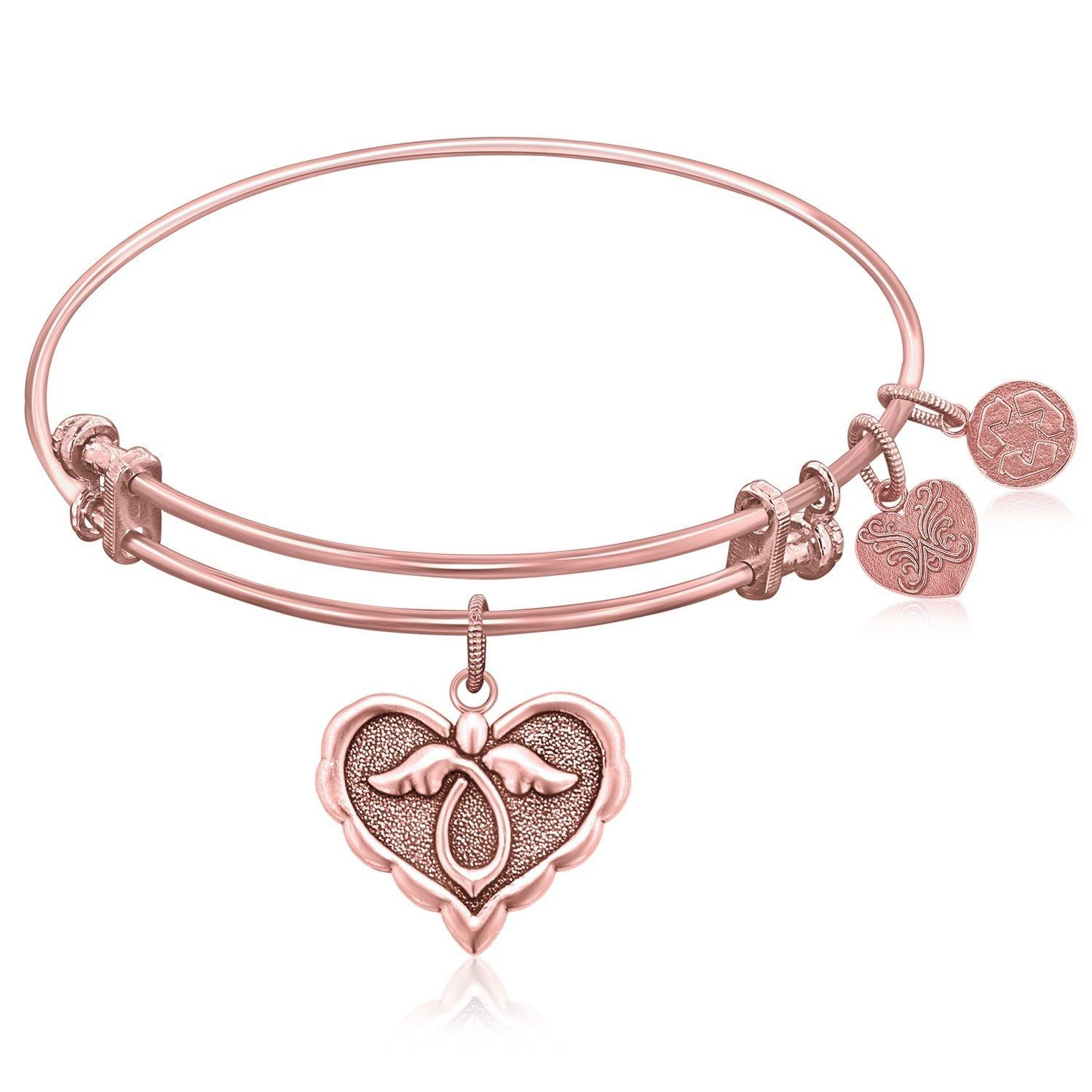 Expandable Bangle in Pink Tone Brass with Angel Comfort Hope Symbol
