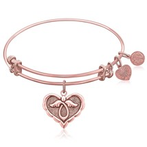Expandable Bangle in Pink Tone Brass with Angel Comfort Hope Symbol - $22.03