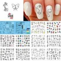 Nail Decals Abstract Black Line Sexy Girl Writing Letter Tattoos Sticke... - $4.64+