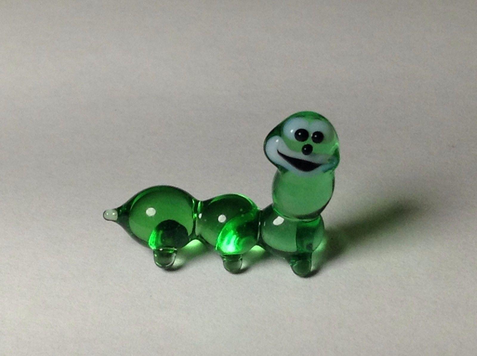 Miniature Glass Smiling green caterpillar Handmade Blown Glass Made USA