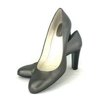 Calvin Klein Olive 8.5 M Metallic Snake Skin Leather Pump Heel Silver Bronze  - $59.39