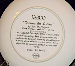 """""""Tommy the Clown"""" by John McClelland Commemorative Plate Recco  AA20-CP2289 Vint image 3"""