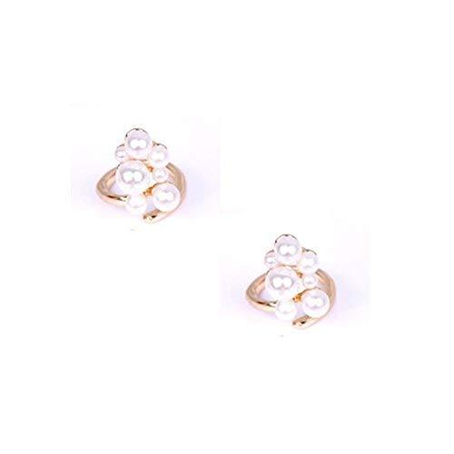 Set of 2 Small Beads Metal Rhinestone Finger Tip Nail Rings