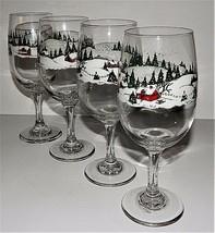 4 Winter Christmas Village Wine Glasses Goblets Libbey Rock Sharpe Heavy... - $39.59