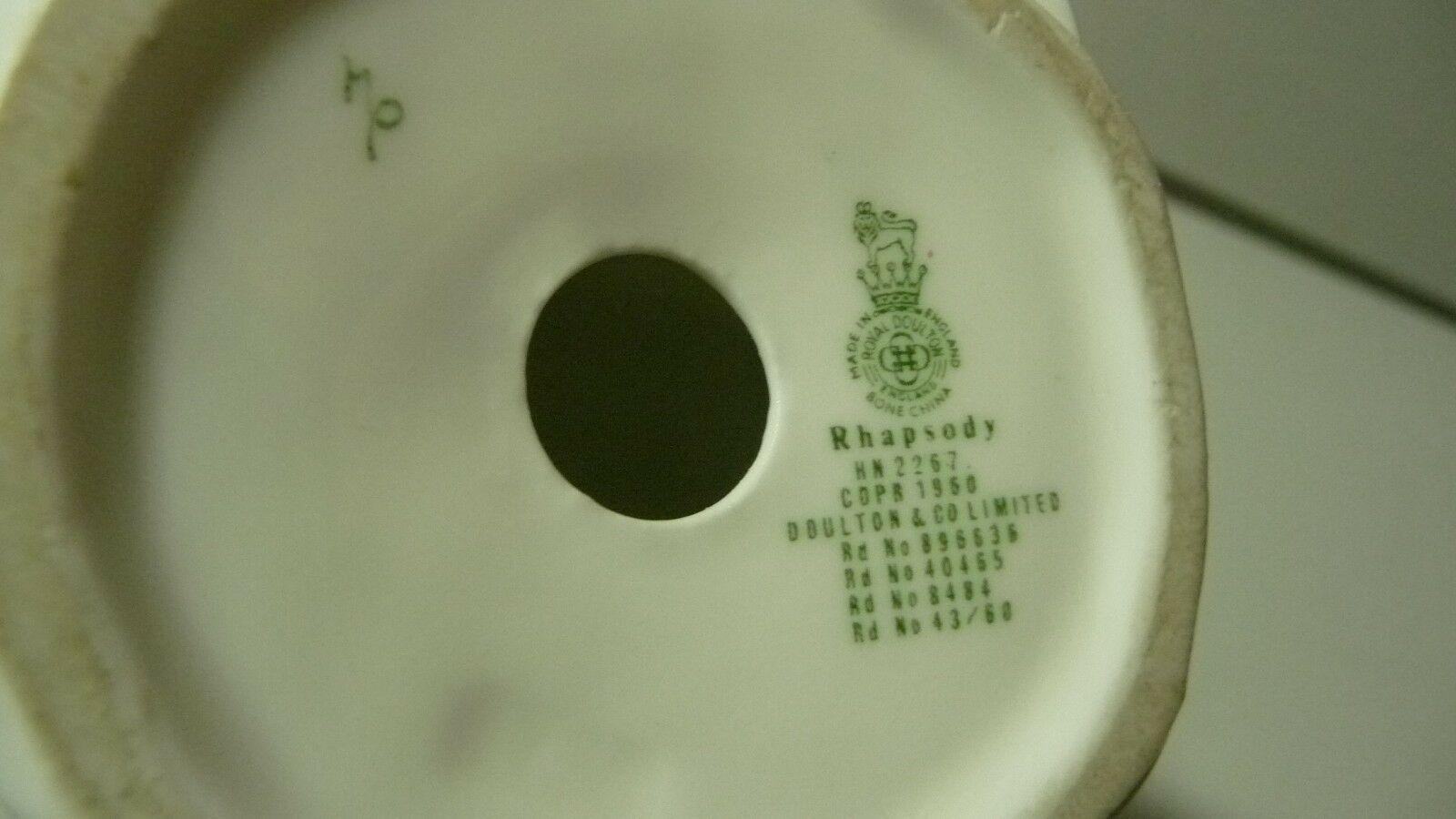 "ROYAL DOULTON ""Rhapsody"" Bone China Figurine HN 2267 Circa 1960 Rd. No. 43/60 image 10"
