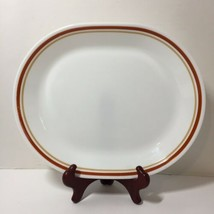 "Oval Serving Platter Cinnamon Chestnut Corelle Rust Tan Bands 12.25"" x 10"" - $14.50"