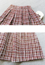 A-line Winter Tweed Skirt Outfit High Waisted Plus Size Burgundy image 5