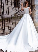 Luxury Solid Satin A-Line Princeess Bridal Gown With Train Back Button image 2