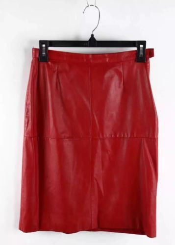 Avon Fashions Red Pig Skin Leather Above The Knee Length Pencil Skirt 7/8