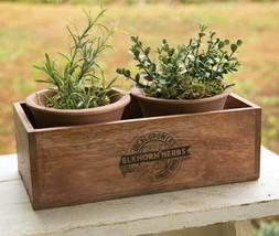 Farmhouse ELKHORN HERBS PLANTER With TWO POTS Country Primitive Garden F... - $43.99