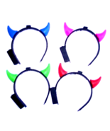 RED Green BLUE Pink LED LIGHT UP Devil HORNS Head Band Style Accessory N... - £6.40 GBP+
