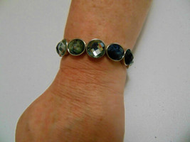 "Charter Club 6.75""  Silver-Tone Green and Black Stone Stretch Bracelet G479 - $13.43"