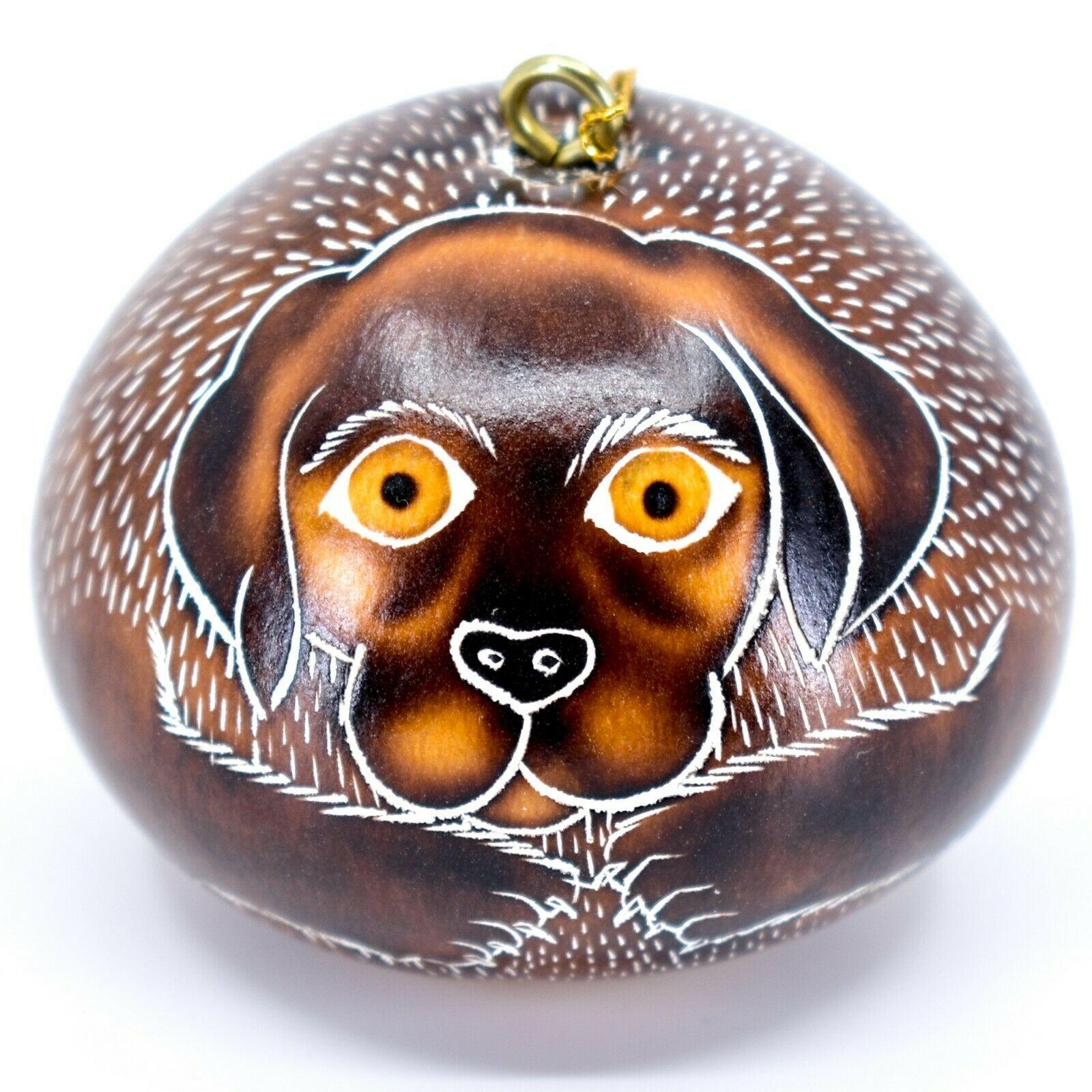 Handcrafted Carved Gourd Art Labrador Lab Puppy Dog Ornament Handmade in Peru