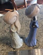 2 Rare Pair Vtg Asian Girls Bud Vases High Glaze Modern bx34 - $12.16