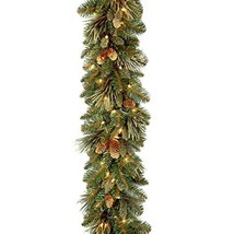 National Tree 9 Foot by 10 Inch Carolina Pine Garland with 27 Flocked Cones and  image 1