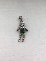 Sterling Crested Emerald MAY Birthstone Boy Charm Rhinestone Face - $19.79