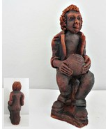 Musician Red Clay Figurine Playing Bongo Drum - $18.69
