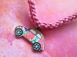 Handmade Pink Hemp Necklace with Awesome Flowery Colorful Car Charm Pendant - $10.00