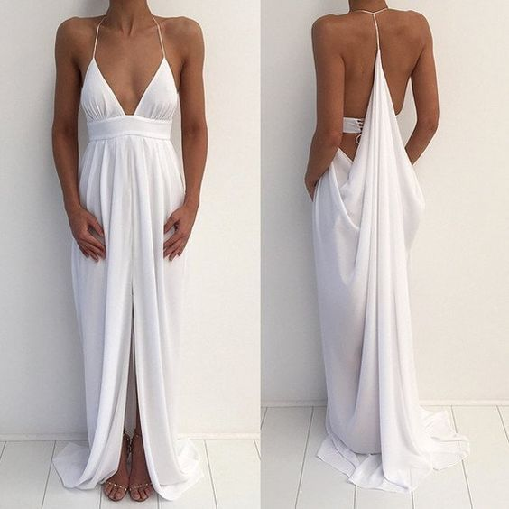 Sexy Chiffon Long White Prom Dresses with Split Side - $99.99
