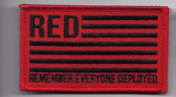 Primary image for REMEMBER EVERYONE DEPLOYED RED BLACK FLAG  2 X 3  EMBROIDERED PATCH HOOK LOOP
