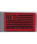 REMEMBER EVERYONE DEPLOYED RED BLACK FLAG  2 X 3  EMBROIDERED PATCH HOOK... - $15.33