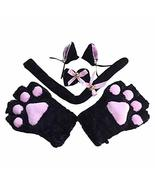 Black Cat Cosplay Costume Set Cat Tail Ears Hair Clips Plush Bell Bow Ti... - $31.17