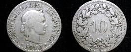 1900 Swiss 10 Rappen World Coin - Switzerland - $8.99