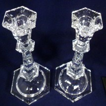 "Candle Holders Pair Lenox - Crystal LC31 Faceted Hexagon Shape 10.25"" Elegant - $10.89"