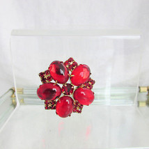 Vintage Stunning Red Glass Brooch Pin Cabochons & Rhinestones Prong Set ... - $40.50