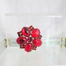 Vintage Stunning Red Glass Brooch Pin Cabochons & Rhinestones Prong Set ... - $40.50