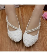 Women Ribbon Style Bridal Ballet Flats/Wedding Flat Shoes with Lace Ankl... - $38.00