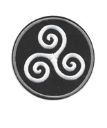 """TRISKELION IRON ON PATCH 3.25"""" Embroidered Black White Celtic Symbol of ... - $5.99"""