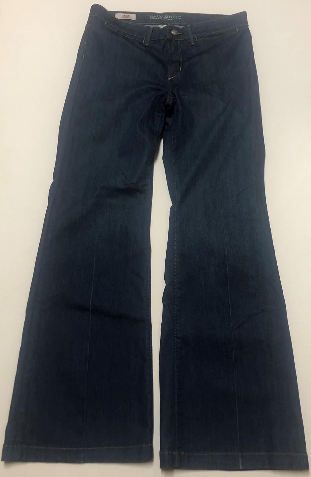 Banana Republic Classic Jeans Sz 10P Stretch Medium Blue Wide Leg image 2