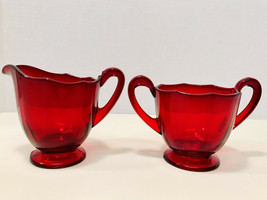 Vintage 1940's Fostoria Fairfax Ruby Glass Footed Open Creamer And Sugar... - $23.33