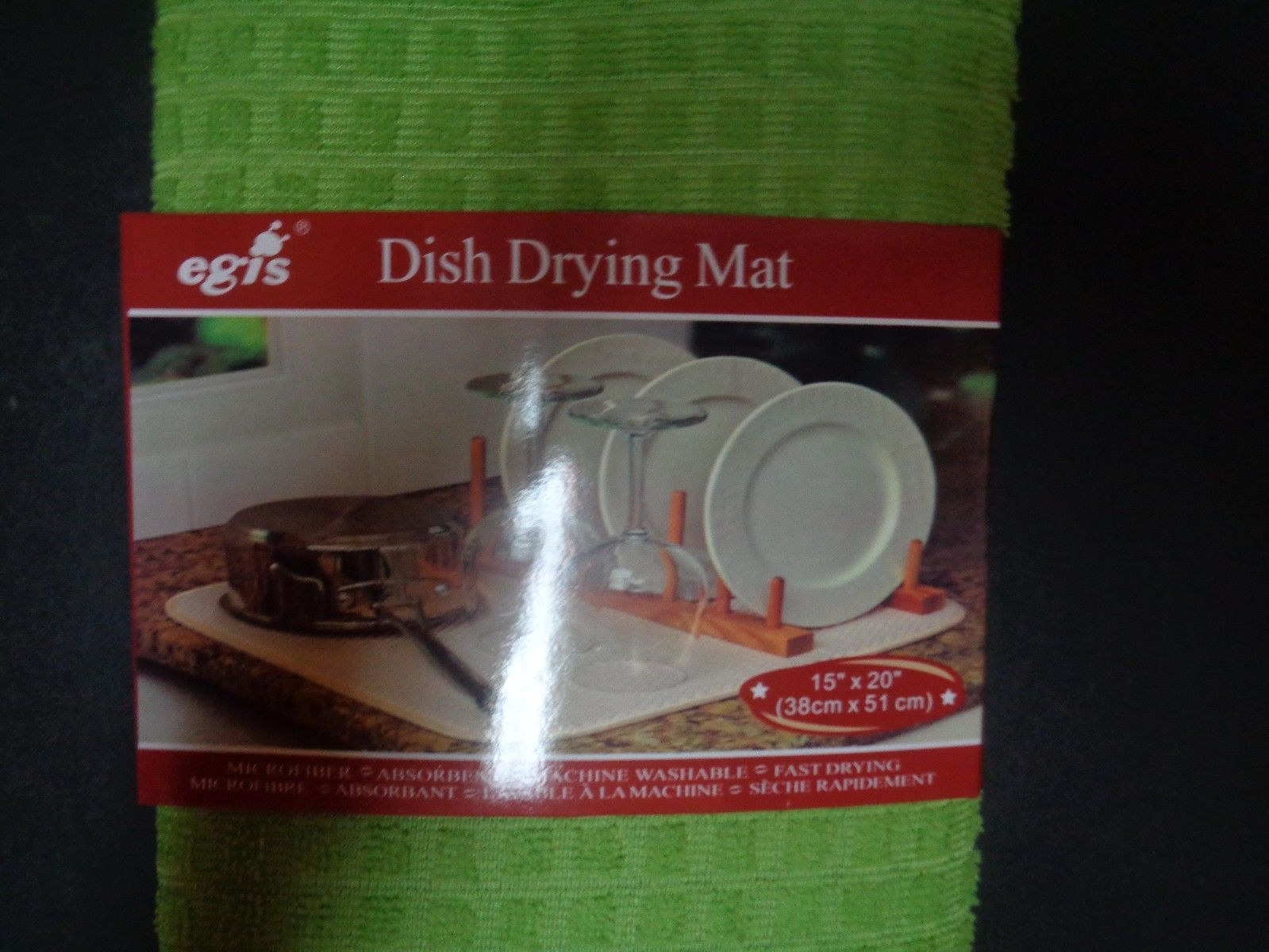 """Dish Drying Mat Microfiber Absorbent Washable Fast Drying Lime Green NWT 15"""""""