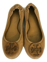 TORY BURCH  Womens Tan Leather Ballet Flat Shoes W/ Leather Medallion Lo... - $81.96