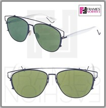 CHRISTIAN DIOR TECHNOLOGIC White Navy Blue Green Flat Mirrored Sunglasse... - $326.70