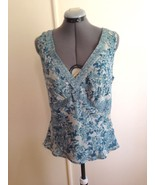 Closeout - Jones Wear Teal and Off White Double Layer Sleeveless Blouse 8 - $9.75