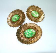 VINTAGE ELIZABETH MORREY GREEN ART GLASS GOLD TONE PENDANT/BROOCH EARRIN... - $90.00