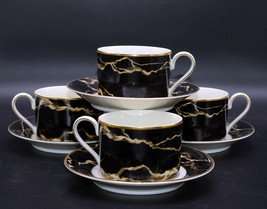 Mikasa Travertine Black * 4 SETS CUPS & SAUCERS *  Excellent Condition! - $32.66