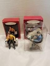 Hallmark StarTrek Capt Kirk 1995 Mr Spock 1996 Keepsake Ornaments Boxes - $29.69