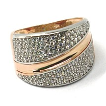 SOLID 18K ROSE WHITE GOLD BAND RING, ALTERNATE DOUBLE WAVES OF CUBIC ZIRCONIA image 2