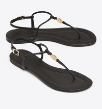 SALE Authentic NEW Tory Burch Flat Sandals Leather Gold Logo Thongs Flip Flop