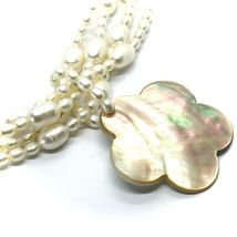 18K YELLOW GOLD 4 WIRES MULTI STRAND NECKLACE FLOWER MOTHER OF PEARL OVAL PEARLS image 4