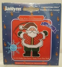 New Janlynn Fun With Santa Polka Dot Christmas Ornament Counted Cross Stitch Kit - $14.84